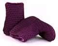 Purple knitted slipper boots Stock Photo