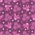 Purple Lace Cyclamen -Flowers in Bloom seamless repeat pattern background in pink,purple,turquoise, green