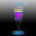 Purple layered exotic cocktail in tall glass transparent Royalty Free Stock Photo