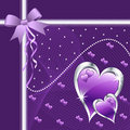 Purple love hearts and bow. Royalty Free Stock Photo