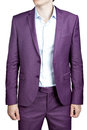 Purple mens wedding costume blazer and trousers isolated on wh suit of clothes for men white Royalty Free Stock Photo