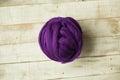 Purple merino wool ball Royalty Free Stock Photo