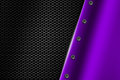 Purple metal background with rivet on gray metallic mesh.