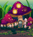 A purple mushroom house illustration of Royalty Free Stock Image