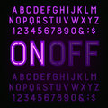 Purple Neon Light Alphabet Font. Two different styles. Lights on or off. Royalty Free Stock Photo