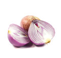 Purple onions were cut on white background. Royalty Free Stock Photo