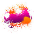 Purple and orange paint splatter Stock Photos