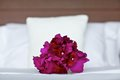 Purple orchid wedding bouquet on bed Royalty Free Stock Photo