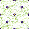 Purple pansies and green swirls Royalty Free Stock Images