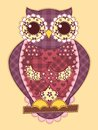 Purple patchwork owl quilt illustration Stock Image