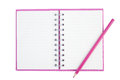 Purple Pencil on Face purple notebook for background and Clipping part Royalty Free Stock Photo