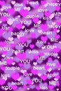 Purple and pink hearts background with love words Royalty Free Stock Photo