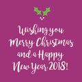 Purple pink Merry Christmas and Happy New Year greeting card