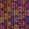 Purple, pink and orange triangle geometric design. Repeat vector pattern on black background with boho vibe. Great for
