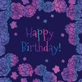 Purple pink rose garden ditsy floral Happy Birthday vector greeting card