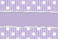 Purple polka dot and striped torn background for your message or invitation with copy space in the middle Stock Image