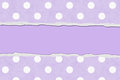Purple polka dot torn background for your message or invitation with copy space in the middle Royalty Free Stock Photo