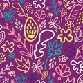 Purple potpourri floral seamless pattern
