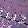 Purple printed circuit board Stock Photos