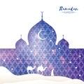 Purple Ramadan Kareem Greeting card.. Arabic window Mosque, desert, camel, stars. Paper cut style. Arabesque pattern