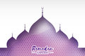 Purple Ramadan Kareem Greeting card.. Arabic window Mosque. Paper cut art style. Arabesque pattern. Vector