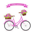 Purple retro bicycle with bouquet in floral basket and box on trunk for wedding, congatulation banner, invite, card