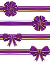 Purple ribbons set of isolated on white background Stock Images