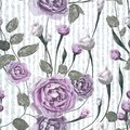 Purple rose flowers with leaves on striped blue and white background.