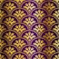 Purple seamless peacock sari pattern Royalty Free Stock Photo