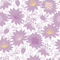 Purple shadow florals seamless pattern background vector with line art flowers Royalty Free Stock Images