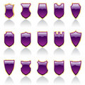 Purple shiny shields Royalty Free Stock Image