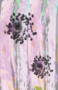 Purple silk curtains material with abstract flowers. Draping for curtains and sheets. Royalty Free Stock Photo