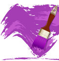 Purple smear paint and brushes Stock Photography