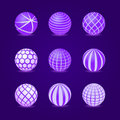 Purple stripe round stripe ball icon set signs Royalty Free Stock Image