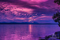 Purple sunset ocean sky Royalty Free Stock Photo