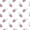 Purple sweet water with slices of watermelon. Seamless pattern.