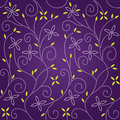 Purple swirl floral seamless pattern Stock Photo