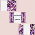 Purple template business cards with oriental pattern and geometric circle element