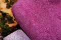 Purple terry towel Royalty Free Stock Photography