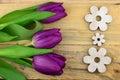 Purple Tulips On Old Wood As B...