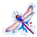 Purple watercolor dragonfly vector greeting background with beautiful flying violet Stock Photos