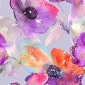 Purple watercolor flowers