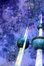 Purple Watercolor Style Illustration Of The Kuwait Towers Landma Royalty Free Stock Photo