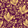 Purple wooden flowers seamless pattern background vector vibrant textured golden ornament with hand drawn line art floral elements Royalty Free Stock Photography