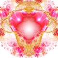 Purple And Yellow Fractal Heart