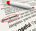 Purpose dictionary definition word objective mission deliberate circled on a page to illustrate a or intentional act or your goal Stock Photo