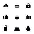 Purse bag icons set black on white background Stock Photo