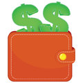 A purse with a dollars signs brown green Royalty Free Stock Photo