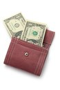 Purse with dollars on white Royalty Free Stock Image