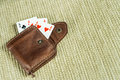 Purse made ​​of leather and playing cards in high resolution Stock Photography